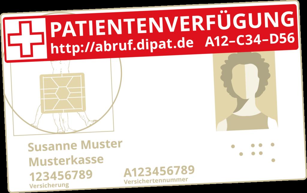 Bild zeigt einen DIPAT Aufkleber zum Abruf einer Patientenverfügung